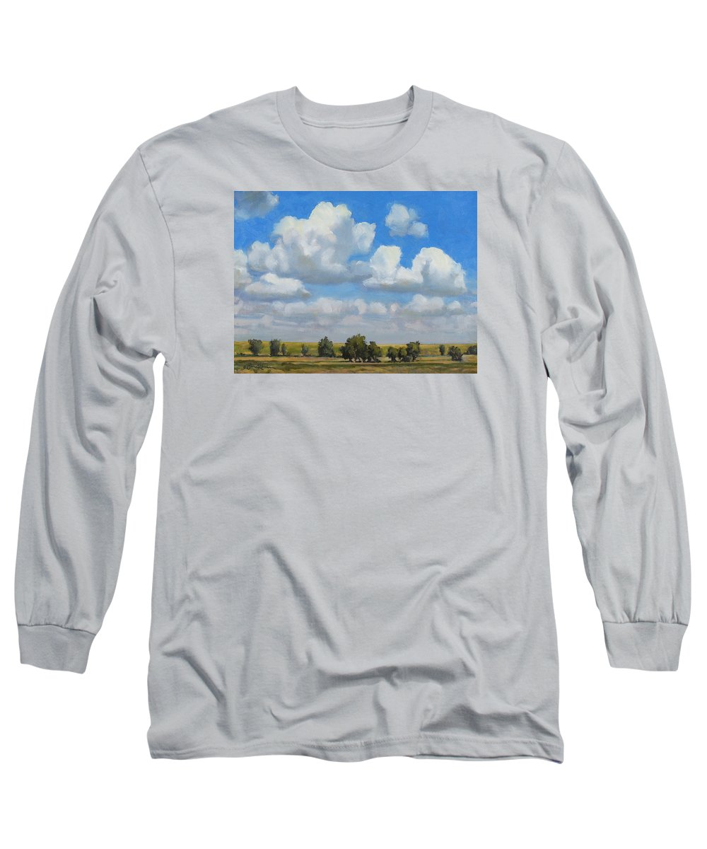 Landscape Long Sleeve T-Shirt featuring the painting Summer Pasture by Bruce Morrison