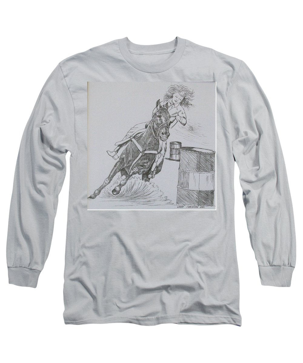 Black And Grey Black Poster Long Sleeve T-Shirt featuring the drawing The Barrel Racer by Wanda Dansereau