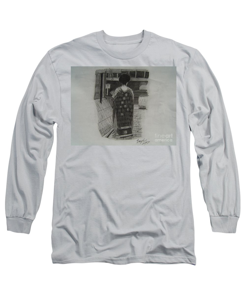 Geisha Long Sleeve T-Shirt featuring the drawing The Geisha by Anthony Dunphy