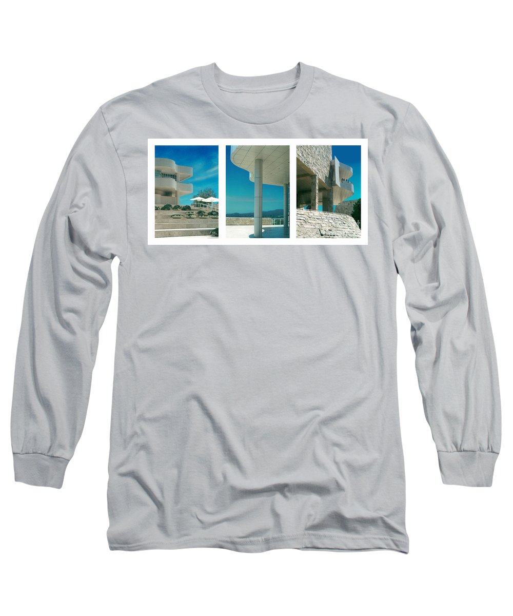 Abstract Long Sleeve T-Shirt featuring the photograph The Getty Triptych by Steve Karol