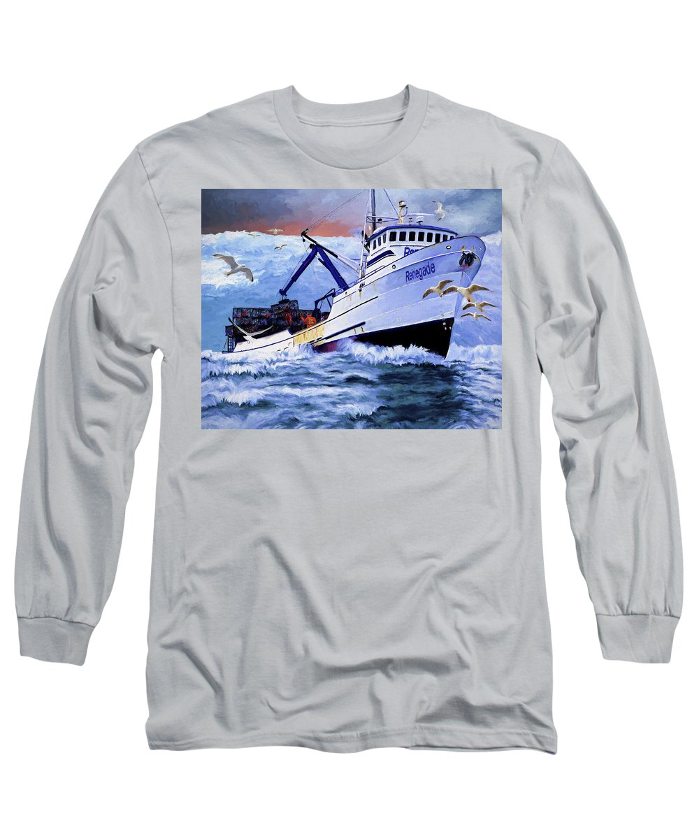 Alaskan King Crabber Long Sleeve T-Shirt featuring the painting Time To Go Home by David Wagner