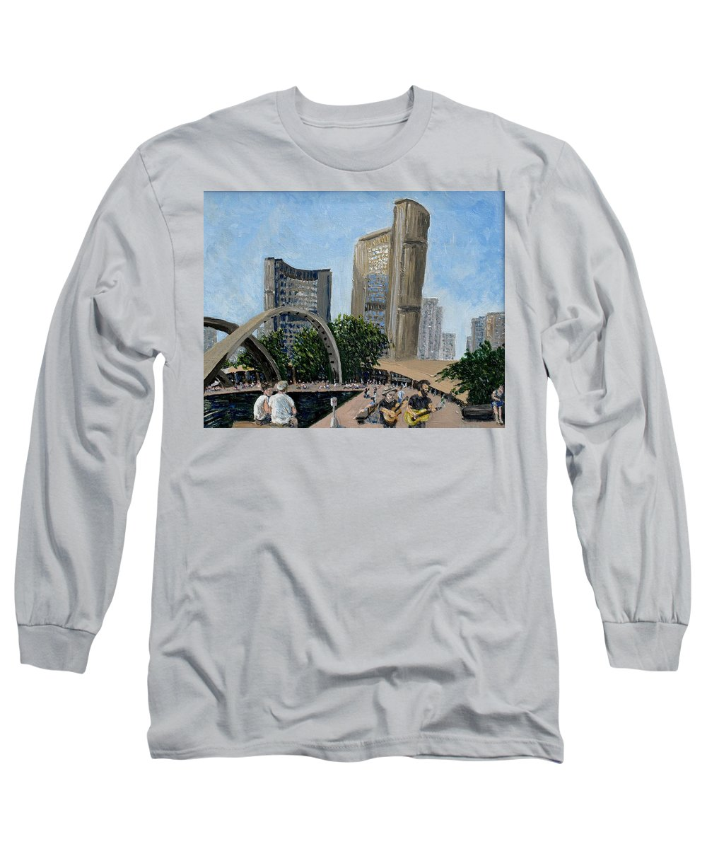 Toronto Long Sleeve T-Shirt featuring the painting Toronto City Hall by Ian MacDonald