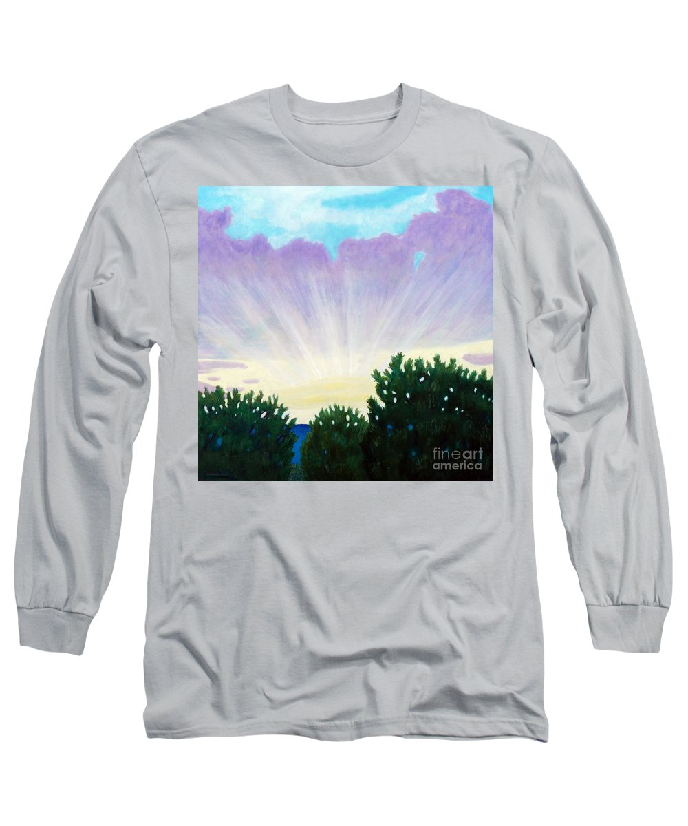 Skyscape Long Sleeve T-Shirt featuring the painting Visionary Sky by Brian Commerford