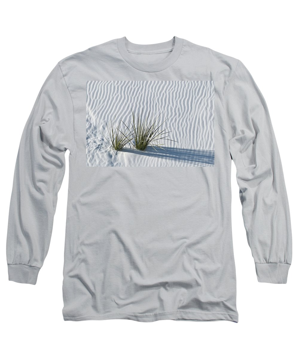 White Long Sleeve T-Shirt featuring the photograph White Sands Grasses by Steve Gadomski