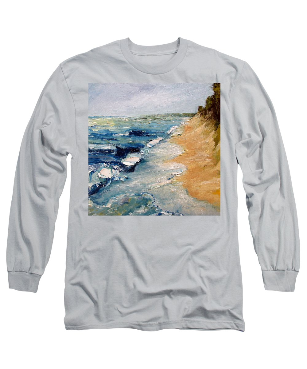 Whitecaps Long Sleeve T-Shirt featuring the painting Whitecaps On Lake Michigan 3.0 by Michelle Calkins