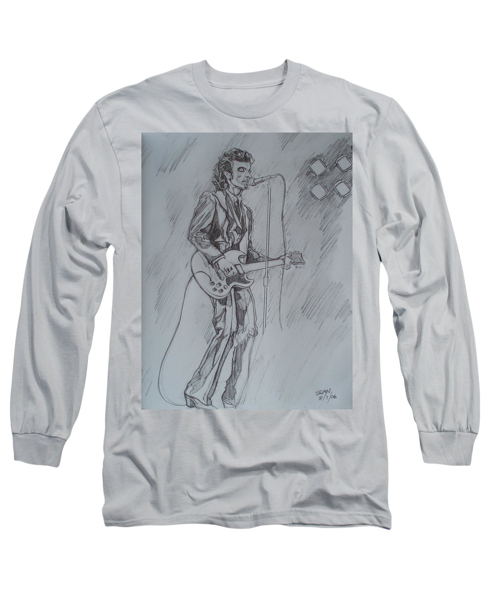 Pencil Long Sleeve T-Shirt featuring the drawing Mink Deville - Steady Drivin' Man by Sean Connolly