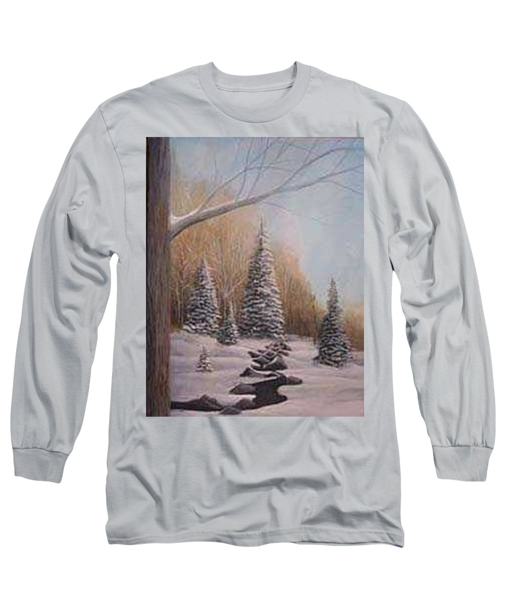 Rick Huotari Long Sleeve T-Shirt featuring the painting Winter Morning by Rick Huotari