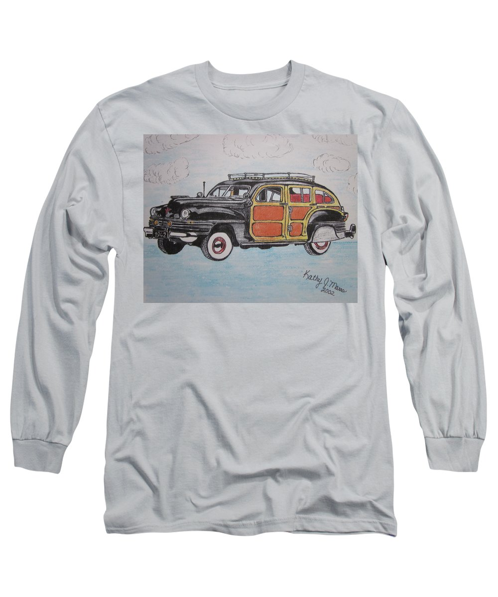 Woodie Long Sleeve T-Shirt featuring the painting Woodie Station Wagon by Kathy Marrs Chandler