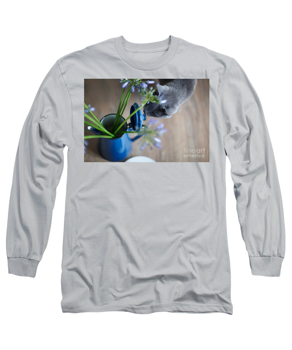 Cat Long Sleeve T-Shirt featuring the photograph Cat And Flowers by Nailia Schwarz