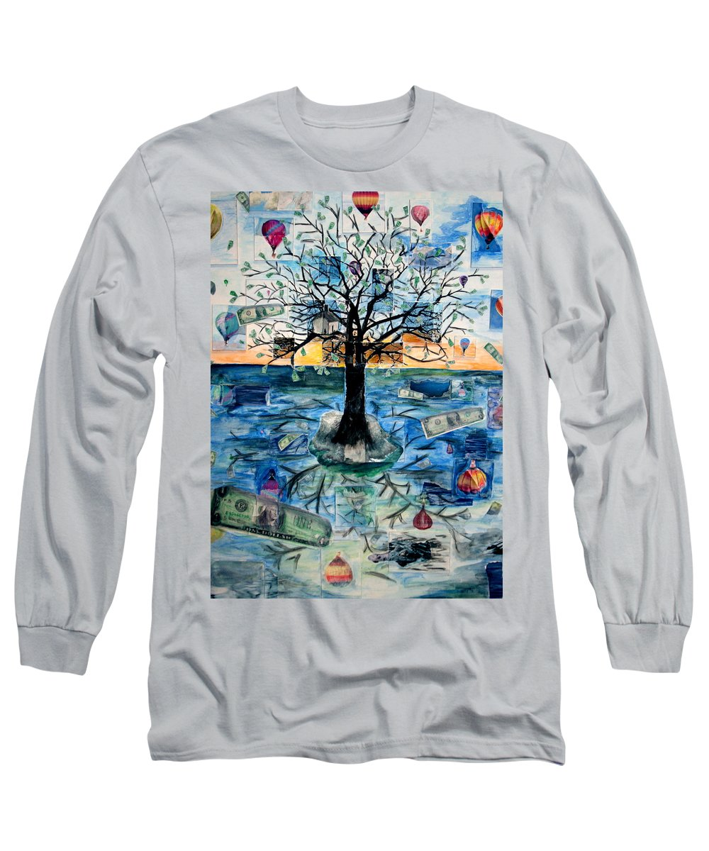 Hot Air Balloons Long Sleeve T-Shirt featuring the painting The Money Tree by Kate Fortin