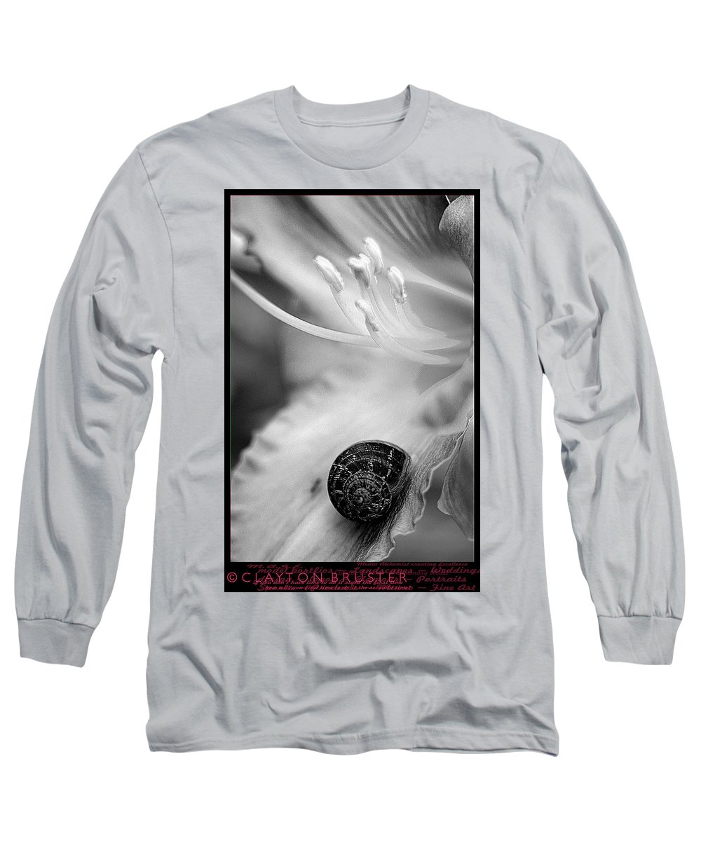 Clay Long Sleeve T-Shirt featuring the photograph B And White Floral With Snail by Clayton Bruster