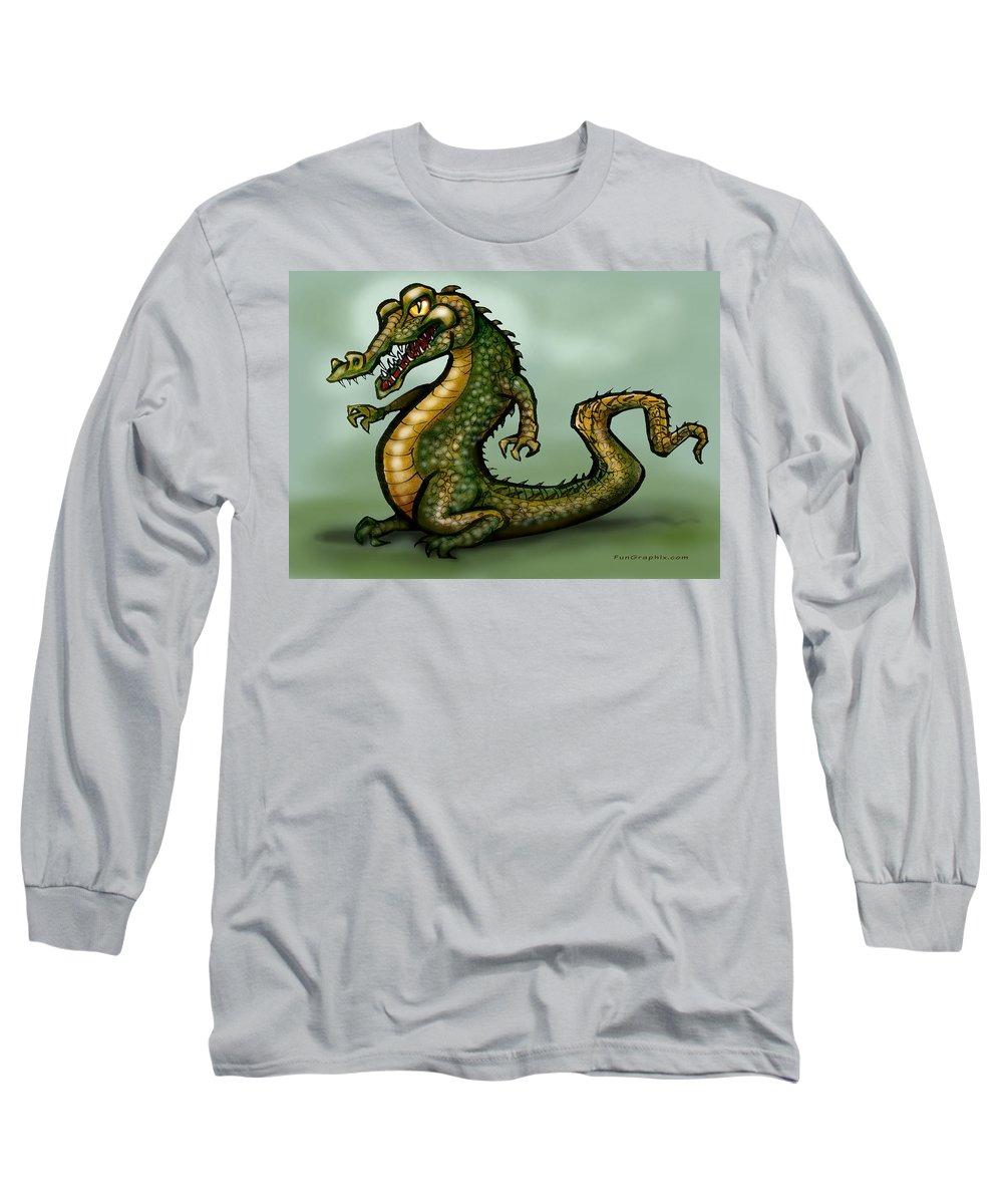 Crocodile Long Sleeve T-Shirt featuring the digital art Crocodile by Kevin Middleton