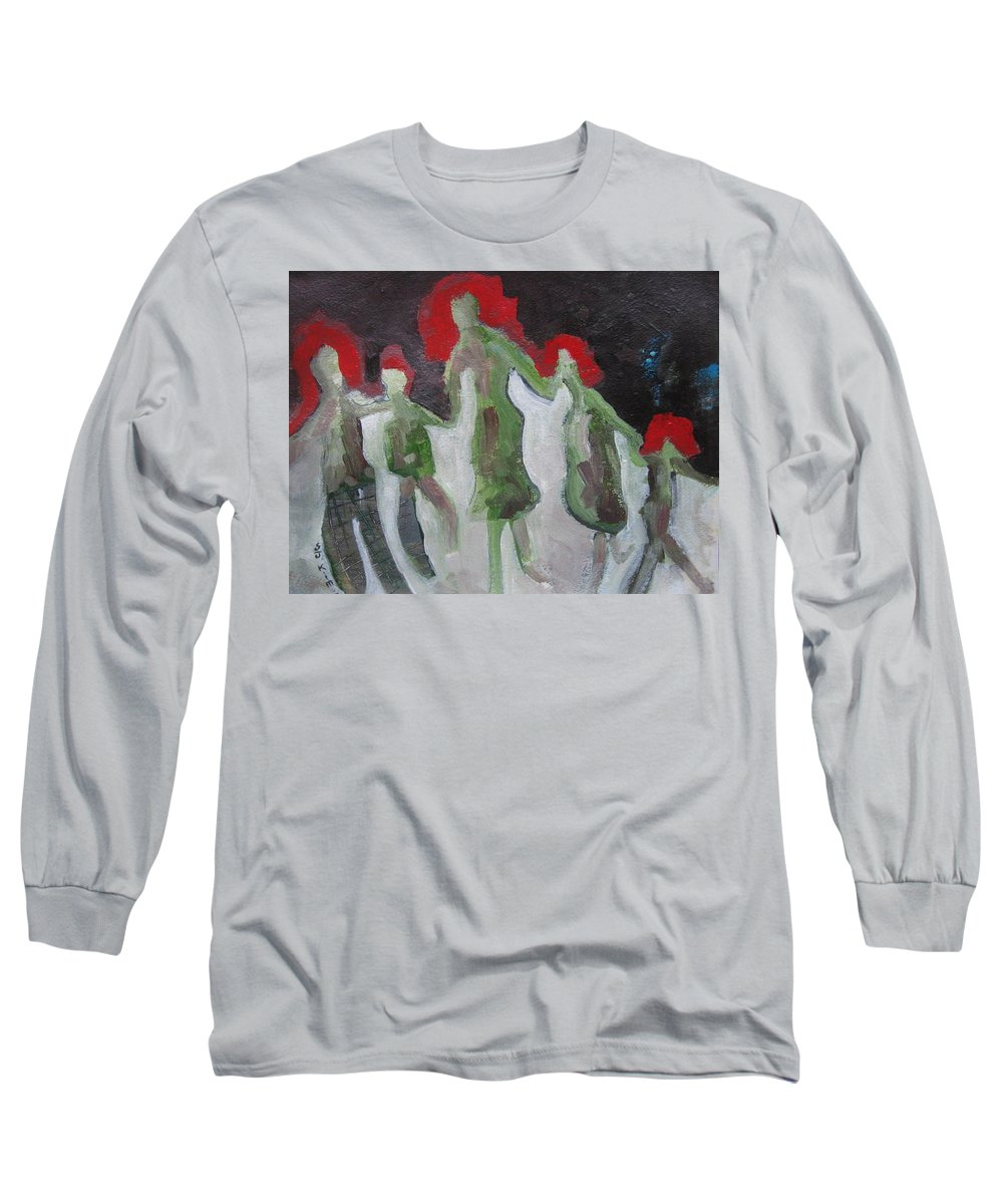 Abstract Paintings Long Sleeve T-Shirt featuring the painting Holding Hands by Seon-Jeong Kim