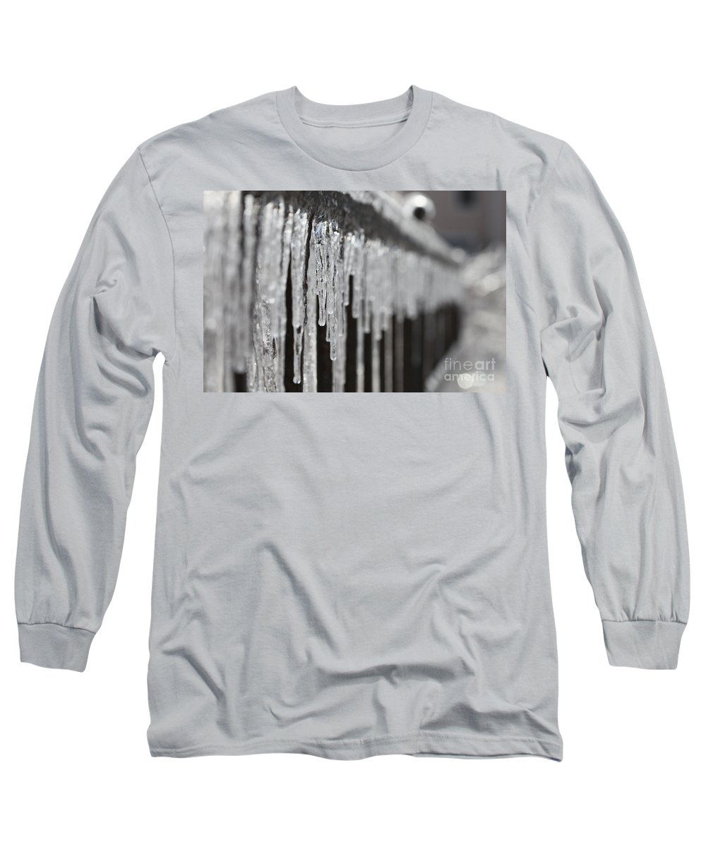 Icicles Long Sleeve T-Shirt featuring the photograph Icicles At Attention by Nadine Rippelmeyer