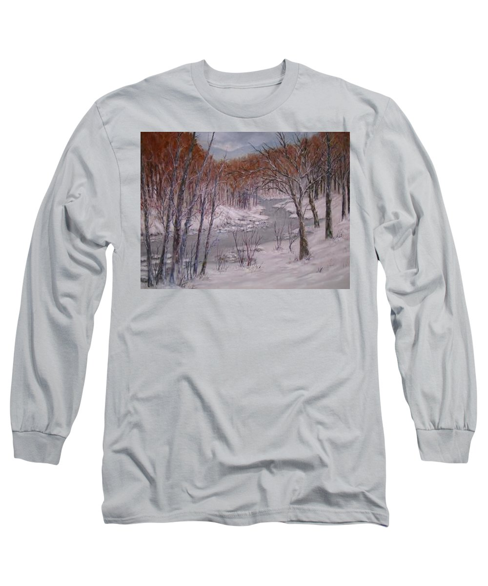 Snow; Landscape Long Sleeve T-Shirt featuring the painting Peace And Quiet by Ben Kiger