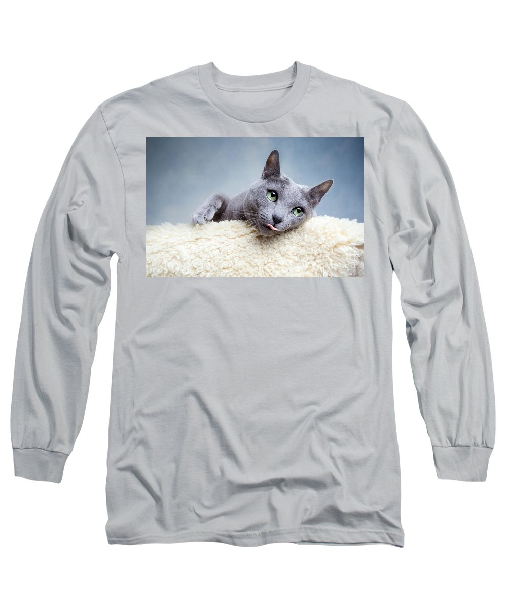 Russian Long Sleeve T-Shirt featuring the photograph Russian Blue Cat by Nailia Schwarz