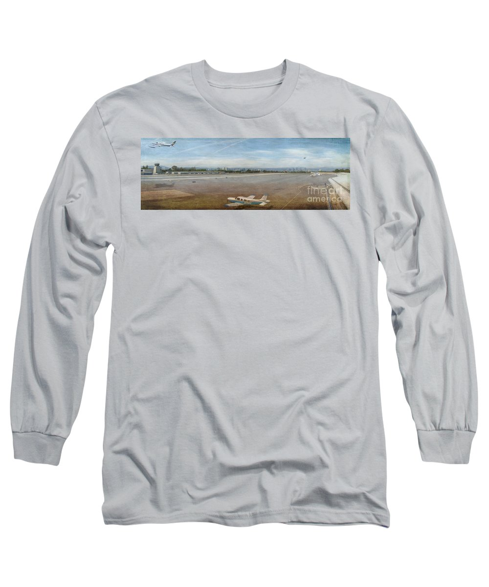 Small City Airport Planes Taking Off Fine Art Photograph Digital Watercolor Texture Overlay Long Sleeve T-Shirt featuring the photograph Small City Airport Plane Taking Off by David Zanzinger