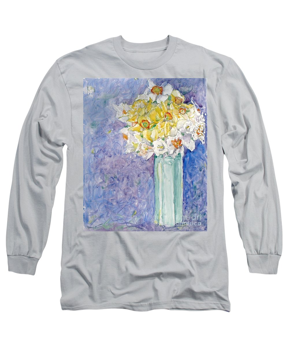 Watercolor Long Sleeve T-Shirt featuring the painting Spring Blossoms by Jan Bennicoff