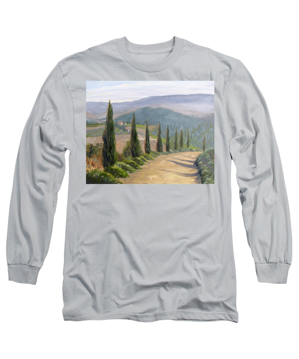 Landscape Long Sleeve T-Shirt featuring the painting Tuscany Road by Jay Johnson
