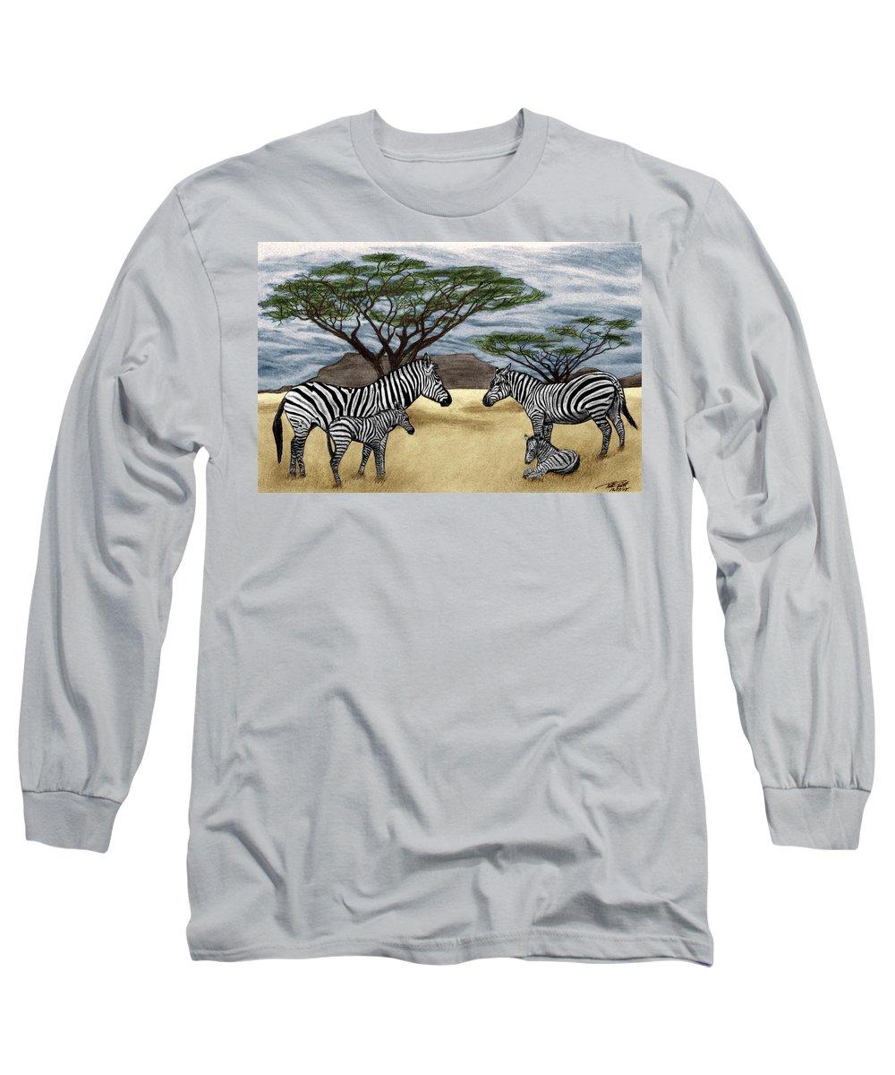 Zebra African Outback Long Sleeve T-Shirt featuring the drawing Zebra African Outback by Peter Piatt