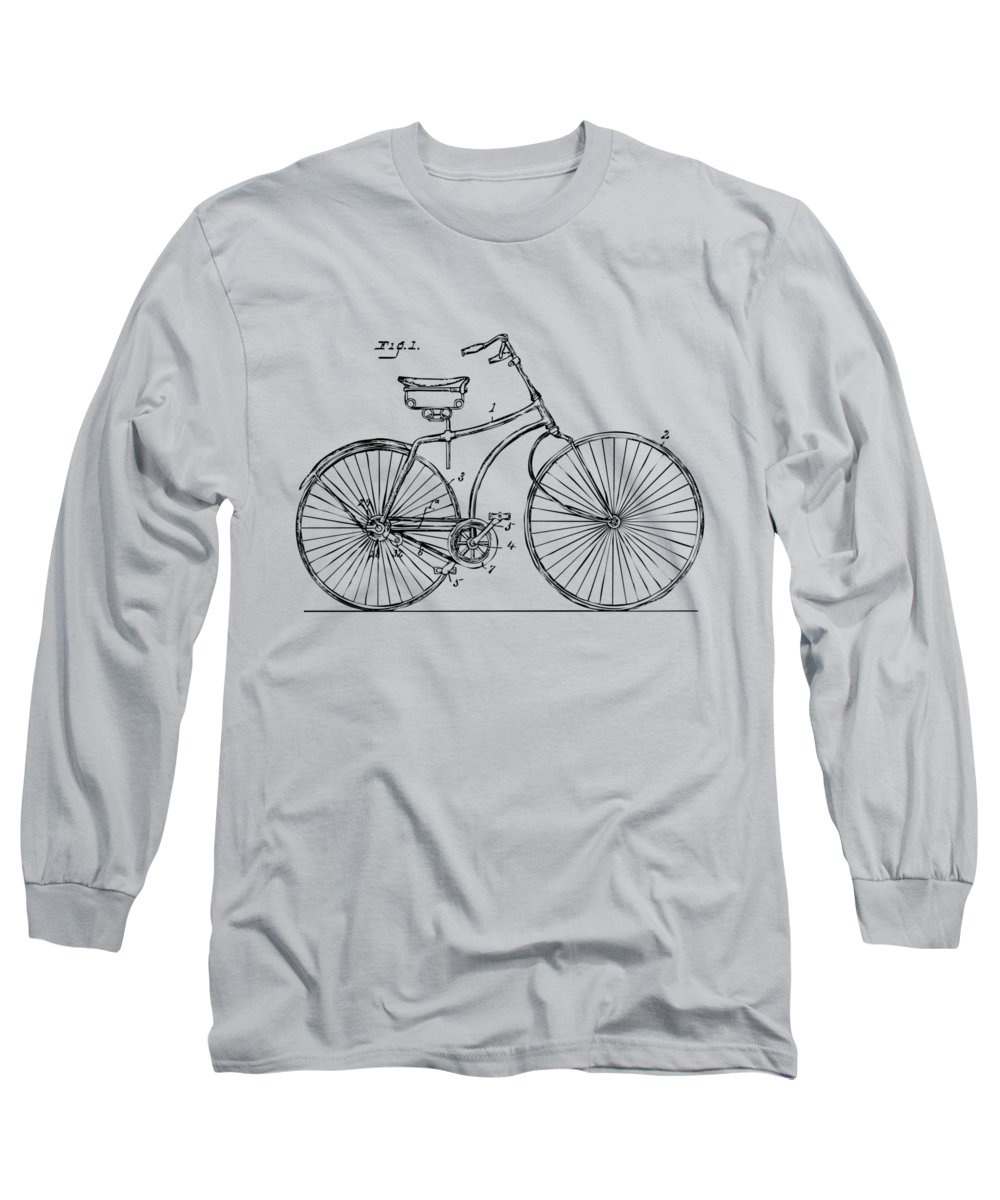 Bicycle Long Sleeve T-Shirt featuring the digital art 1890 Bicycle Patent Minimal - Vintage by Nikki Marie Smith