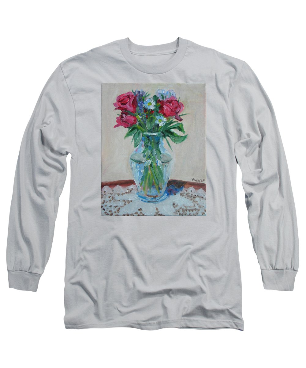 Roses Long Sleeve T-Shirt featuring the painting 3 Roses by Paul Walsh