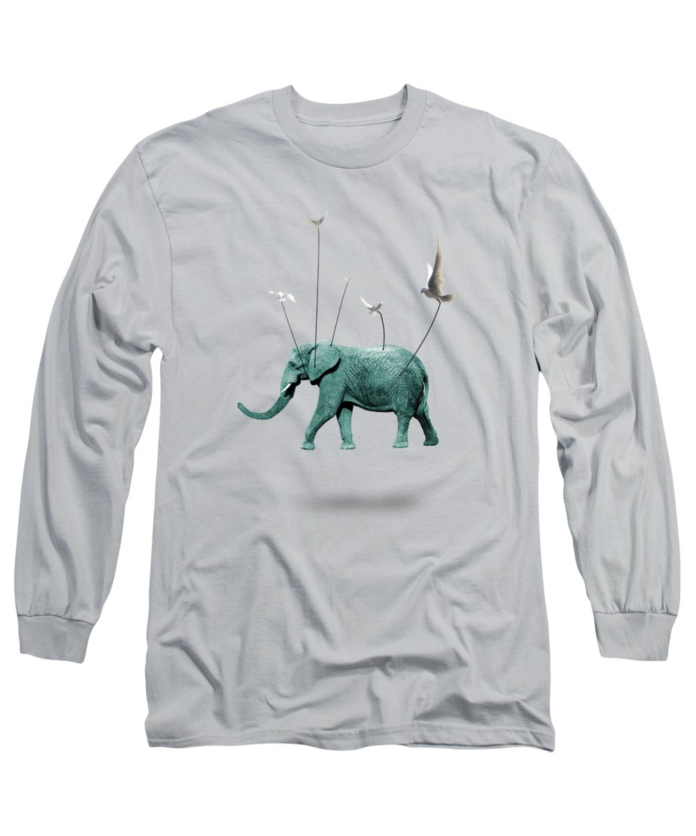 Animals Long Sleeve T-Shirt featuring the painting Elephant 4 by Mark Ashkenazi