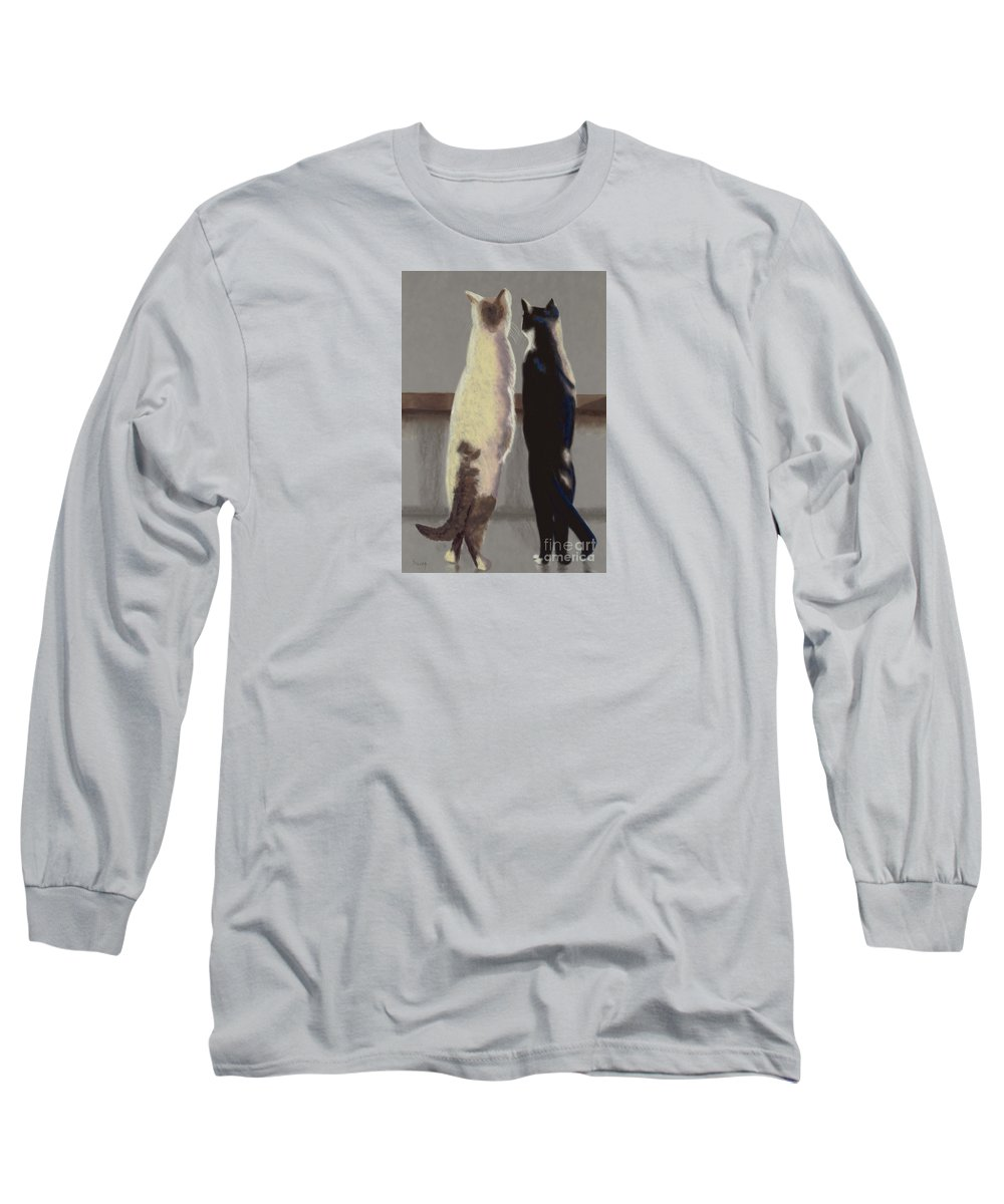 Cat Long Sleeve T-Shirt featuring the painting A Bird by Linda Hiller