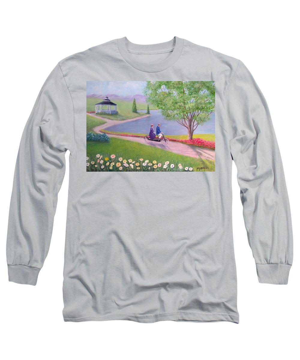 Landscape Long Sleeve T-Shirt featuring the painting A Ride In The Park by William H RaVell III