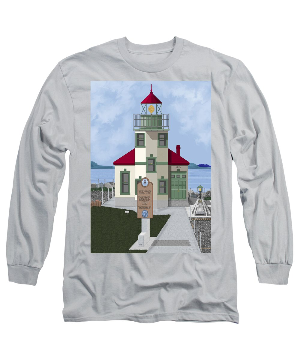 Lighthouse Long Sleeve T-Shirt featuring the painting Alki Point On Elliott Bay by Anne Norskog