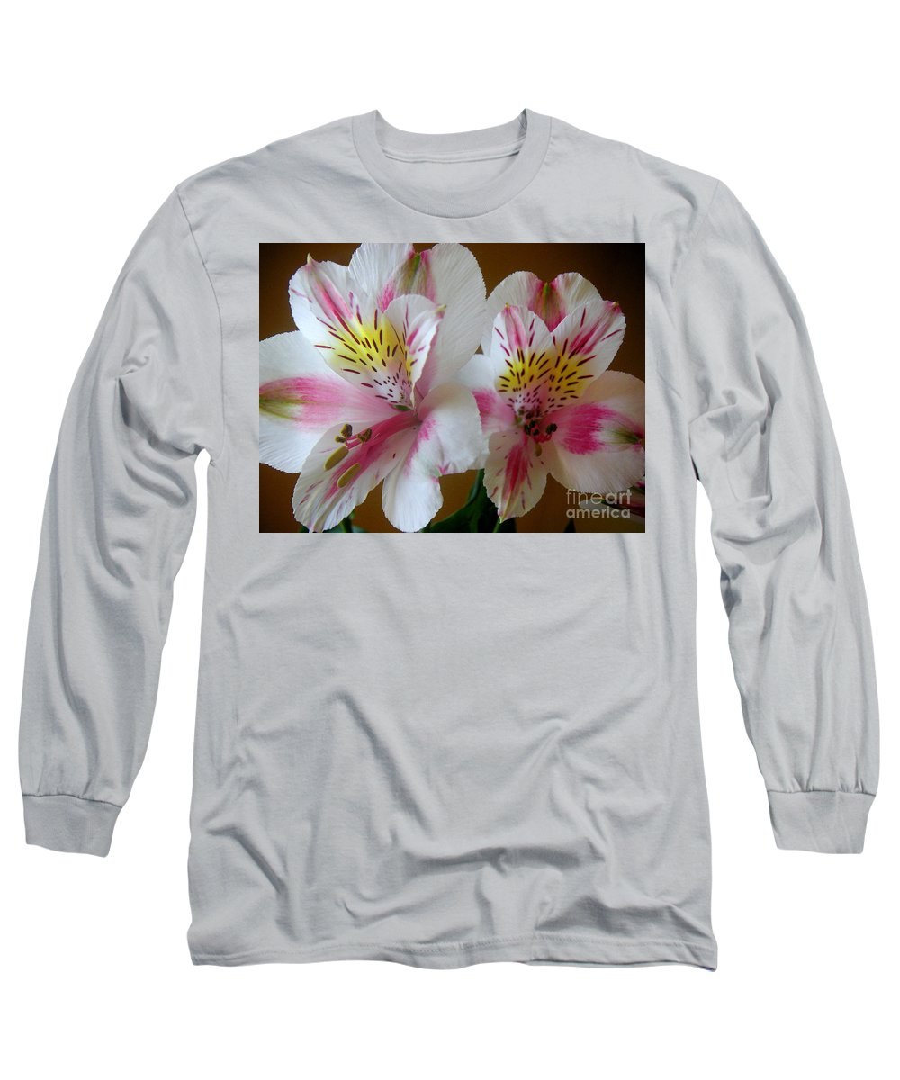 Nature Long Sleeve T-Shirt featuring the photograph Alstroemerias - Heralding by Lucyna A M Green