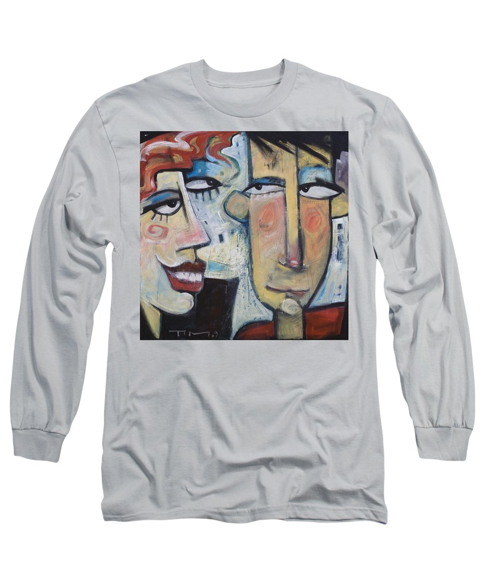 Man Long Sleeve T-Shirt featuring the painting An Uncomfortable Attraction by Tim Nyberg