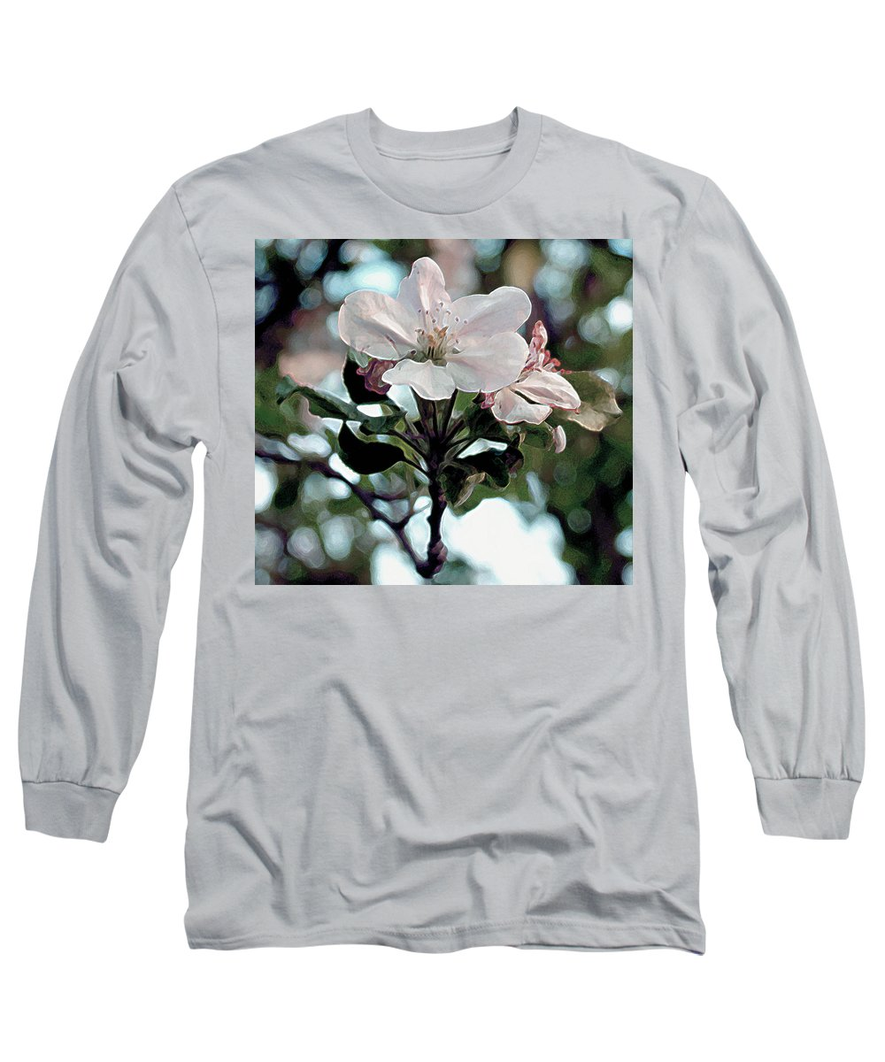 Flowers Long Sleeve T-Shirt featuring the painting Apple Blossom Time by RC deWinter