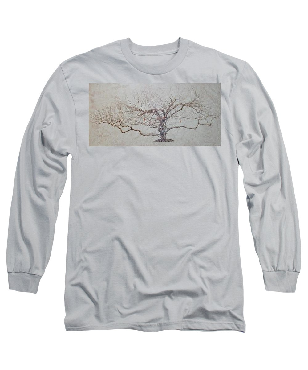 Apple Tree Long Sleeve T-Shirt featuring the painting Apple Tree In Winter by Leah Tomaino