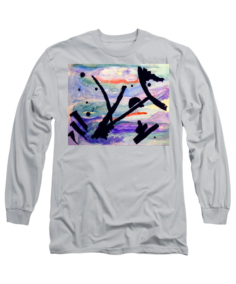 Abstract Long Sleeve T-Shirt featuring the painting Asian Impression by Steve Karol