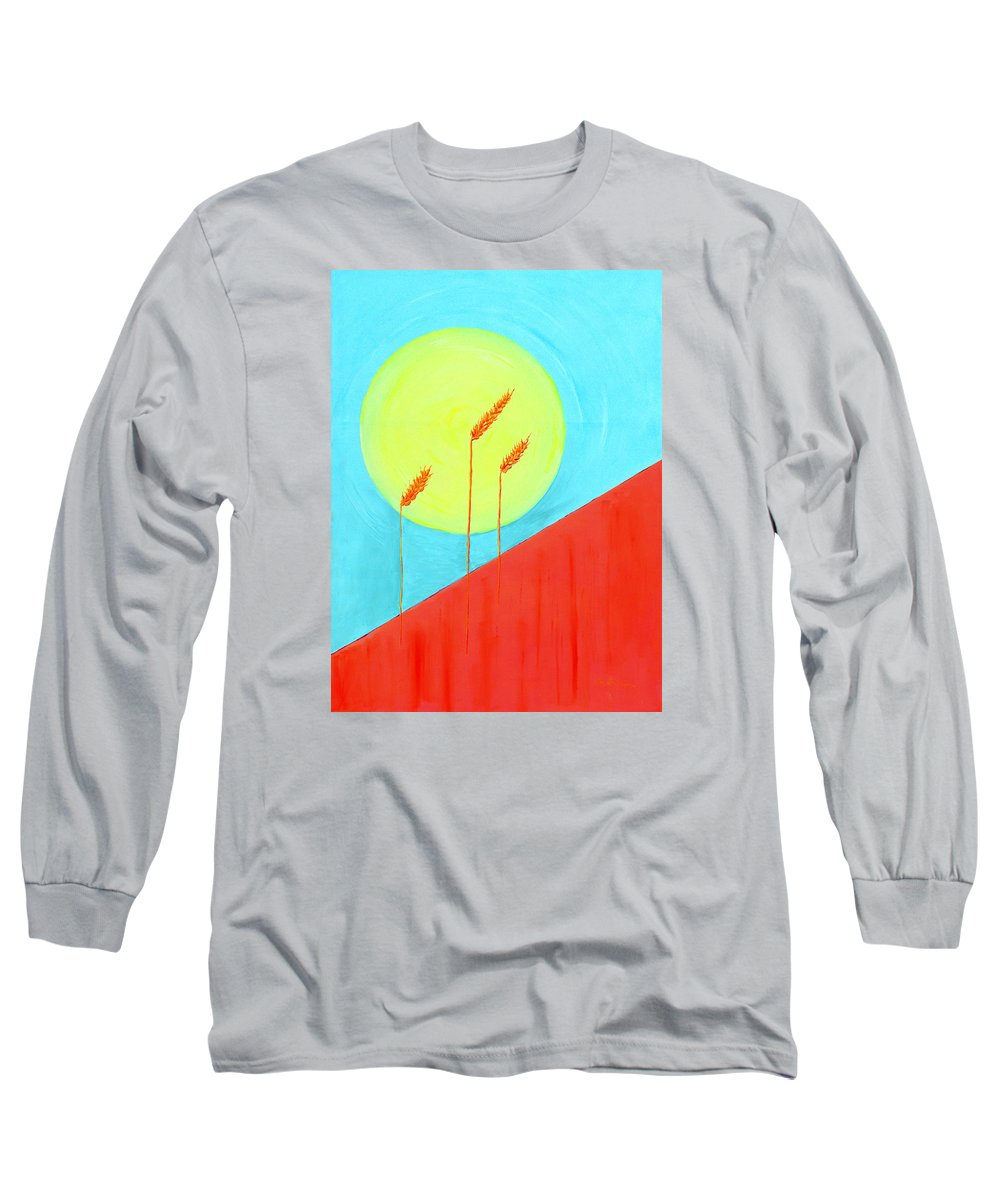 Landscape Long Sleeve T-Shirt featuring the painting Autumn Harvest by J R Seymour