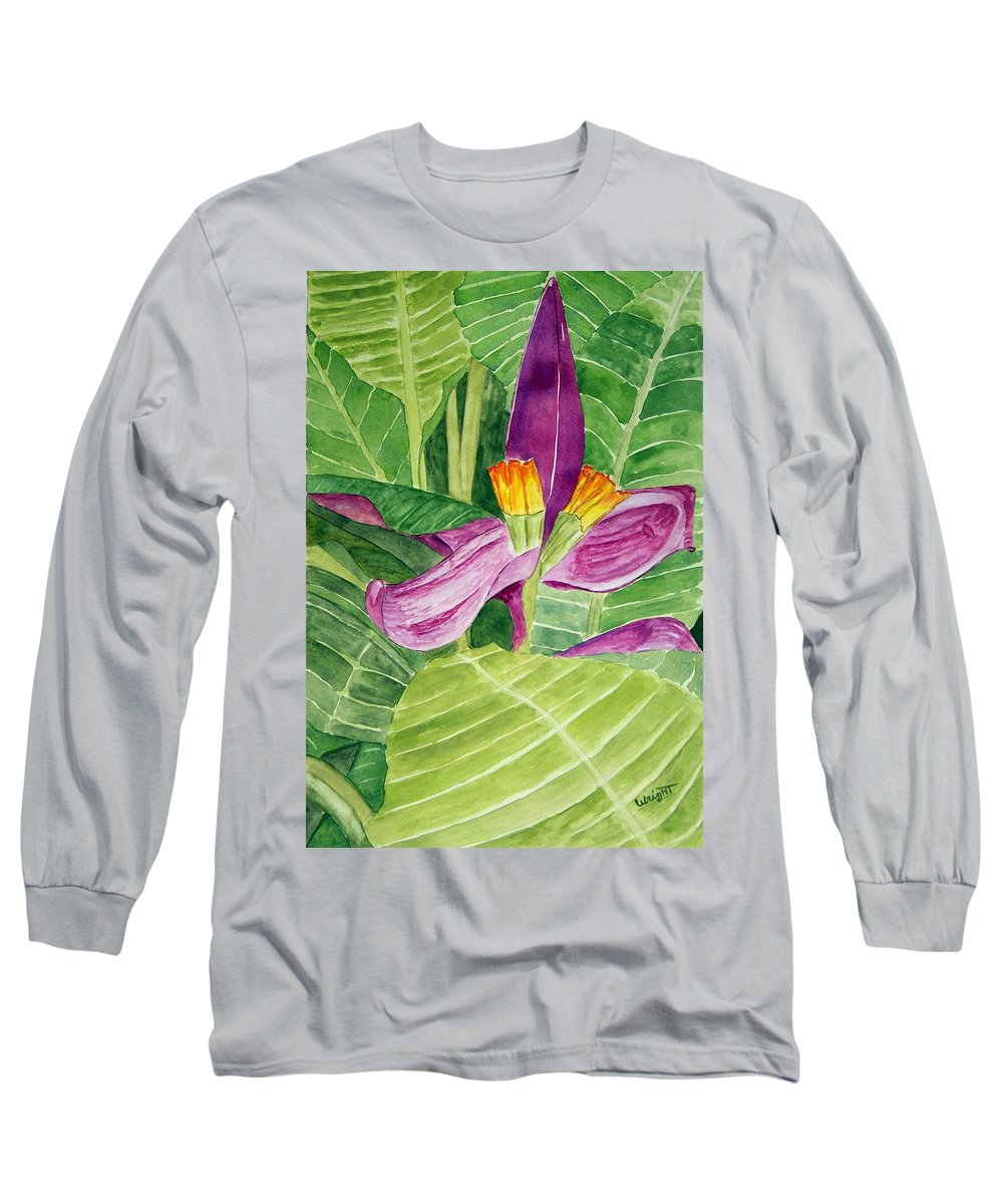 Flower Art Long Sleeve T-Shirt featuring the painting Bananas In October by Larry Wright