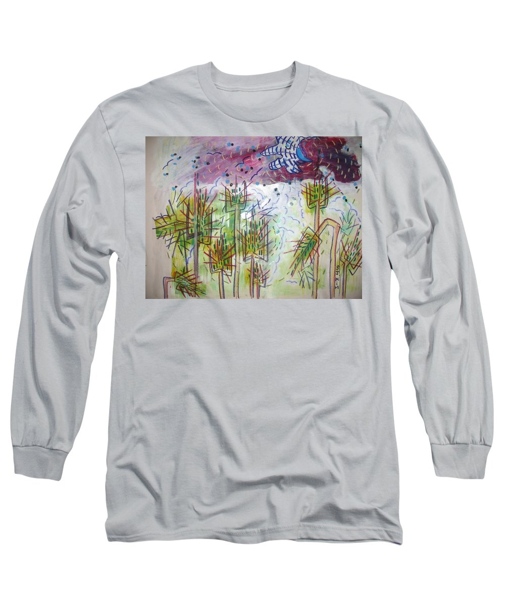 Barly Paintings Long Sleeve T-Shirt featuring the painting Barly And The Blue Moon by Seon-Jeong Kim