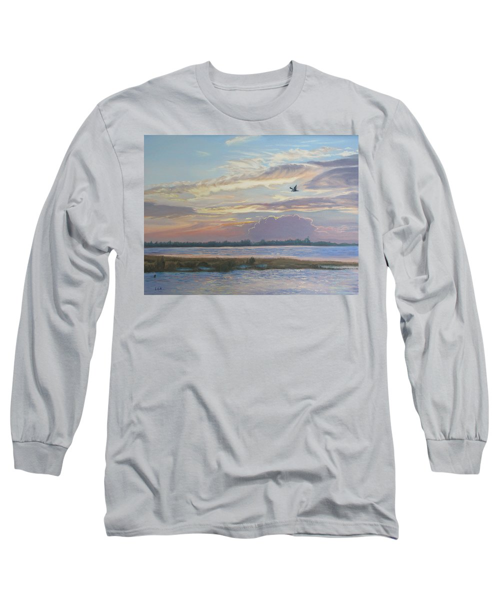Sunset Painting Long Sleeve T-Shirt featuring the painting Barnegat Bay At Sunset by Lea Novak