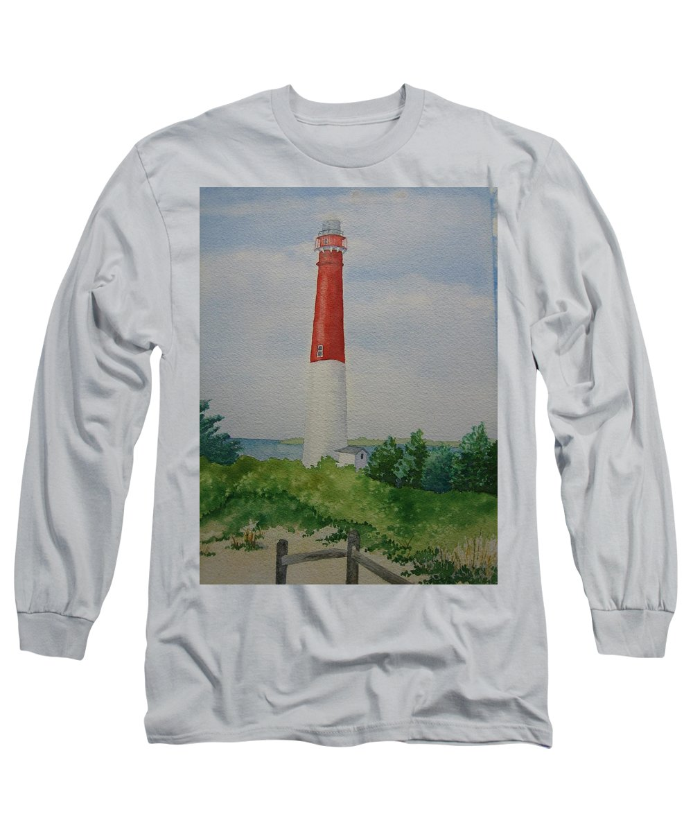 Barnegat Lightouse New Jersey Long Beach Ocean Landscape Light Long Beach Long Sleeve T-Shirt featuring the painting Barnegat Light by Jeff Lucas