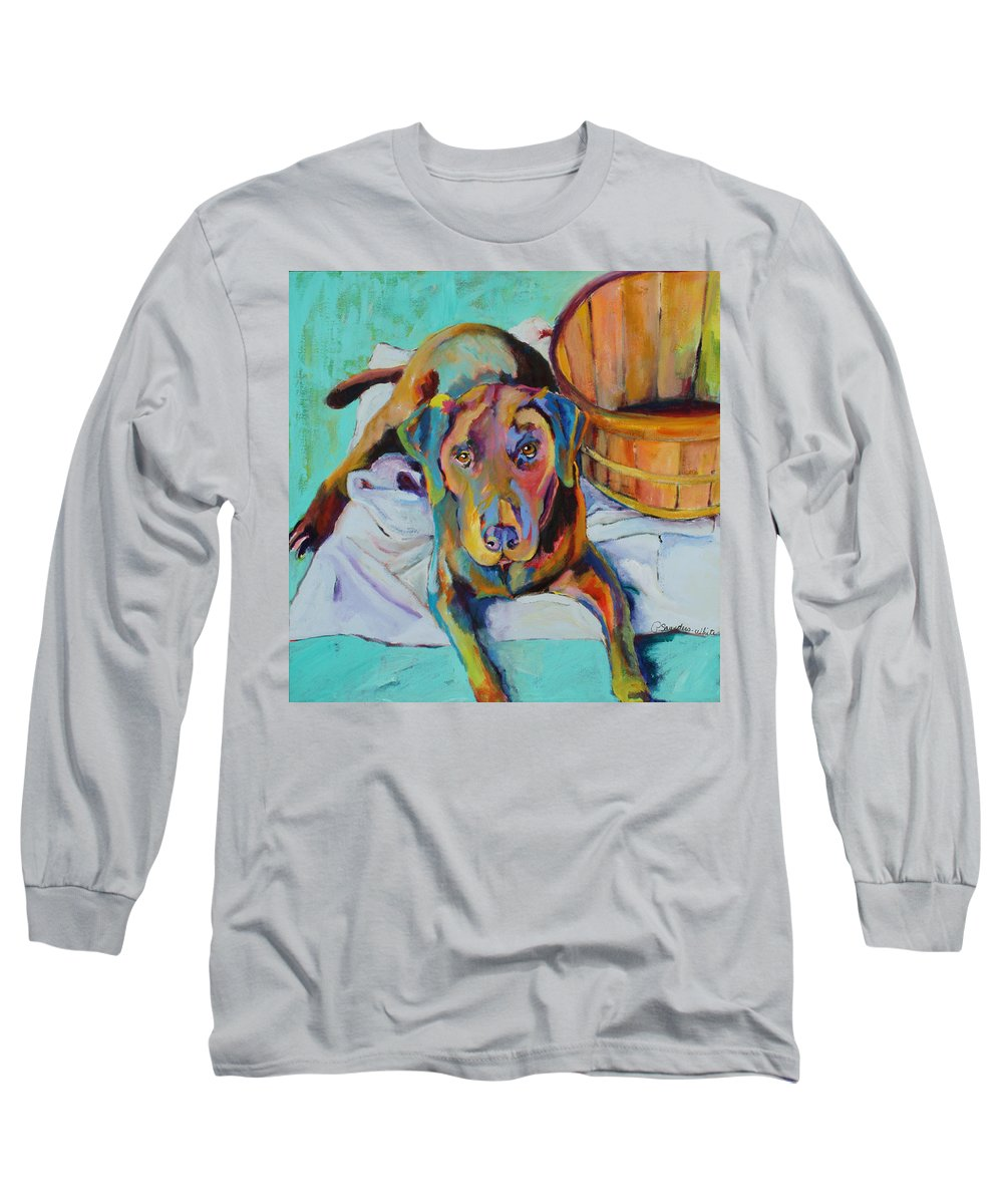 Chocolate Lab Long Sleeve T-Shirt featuring the painting Basket Retriever by Pat Saunders-White