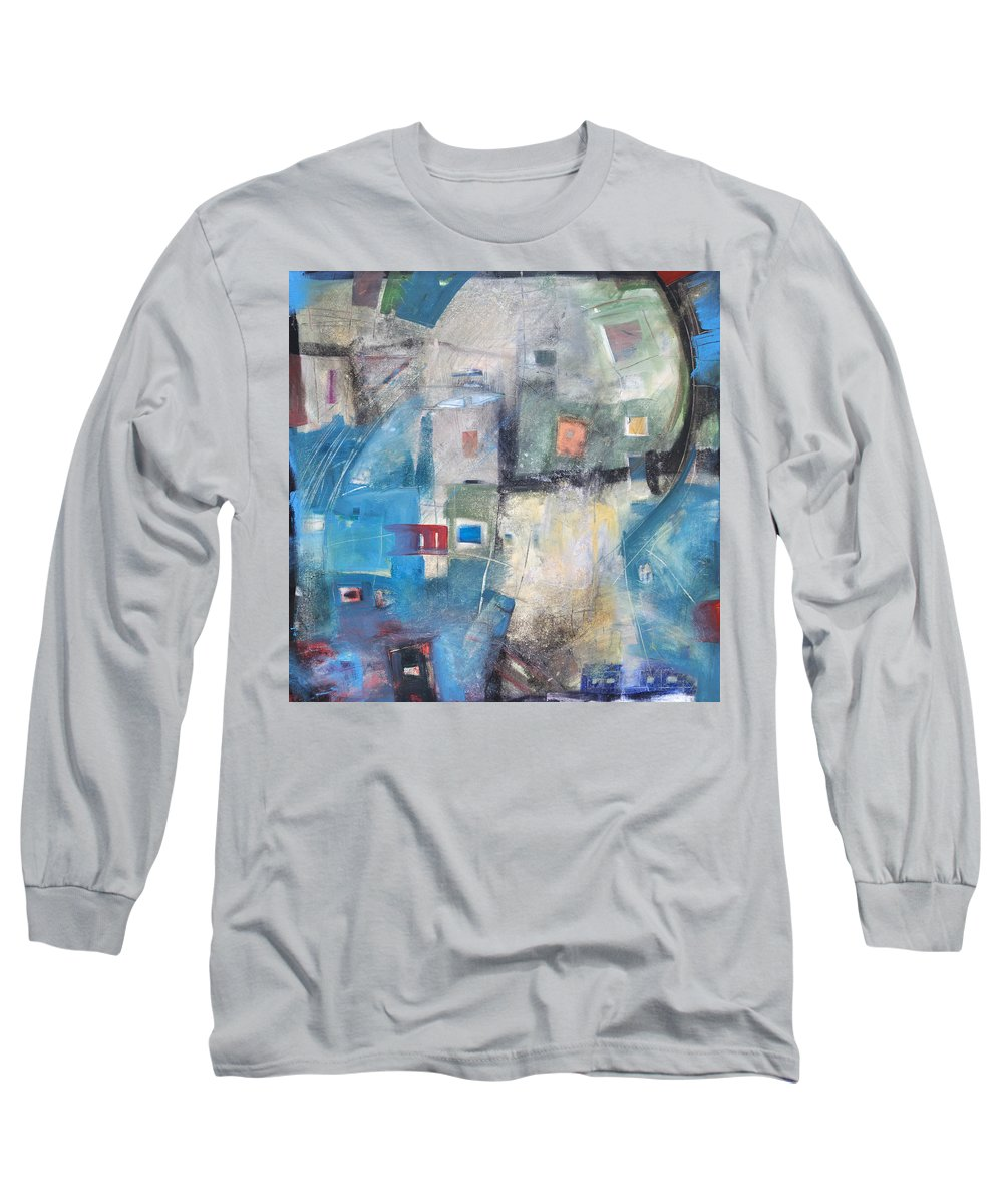 Abstract Long Sleeve T-Shirt featuring the painting Bayer Works Wonders by Tim Nyberg