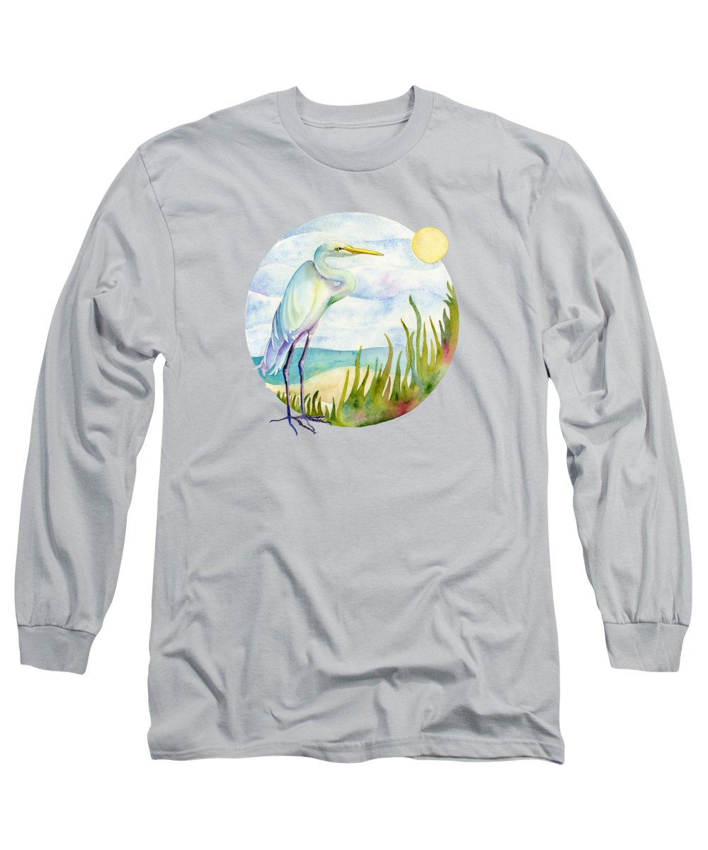 White Bird Long Sleeve T-Shirt featuring the painting Beach Heron by Amy Kirkpatrick