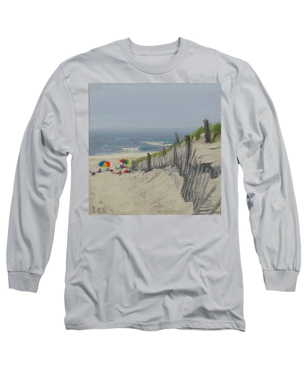 Beach Long Sleeve T-Shirt featuring the painting Beach Scene Miniature by Lea Novak