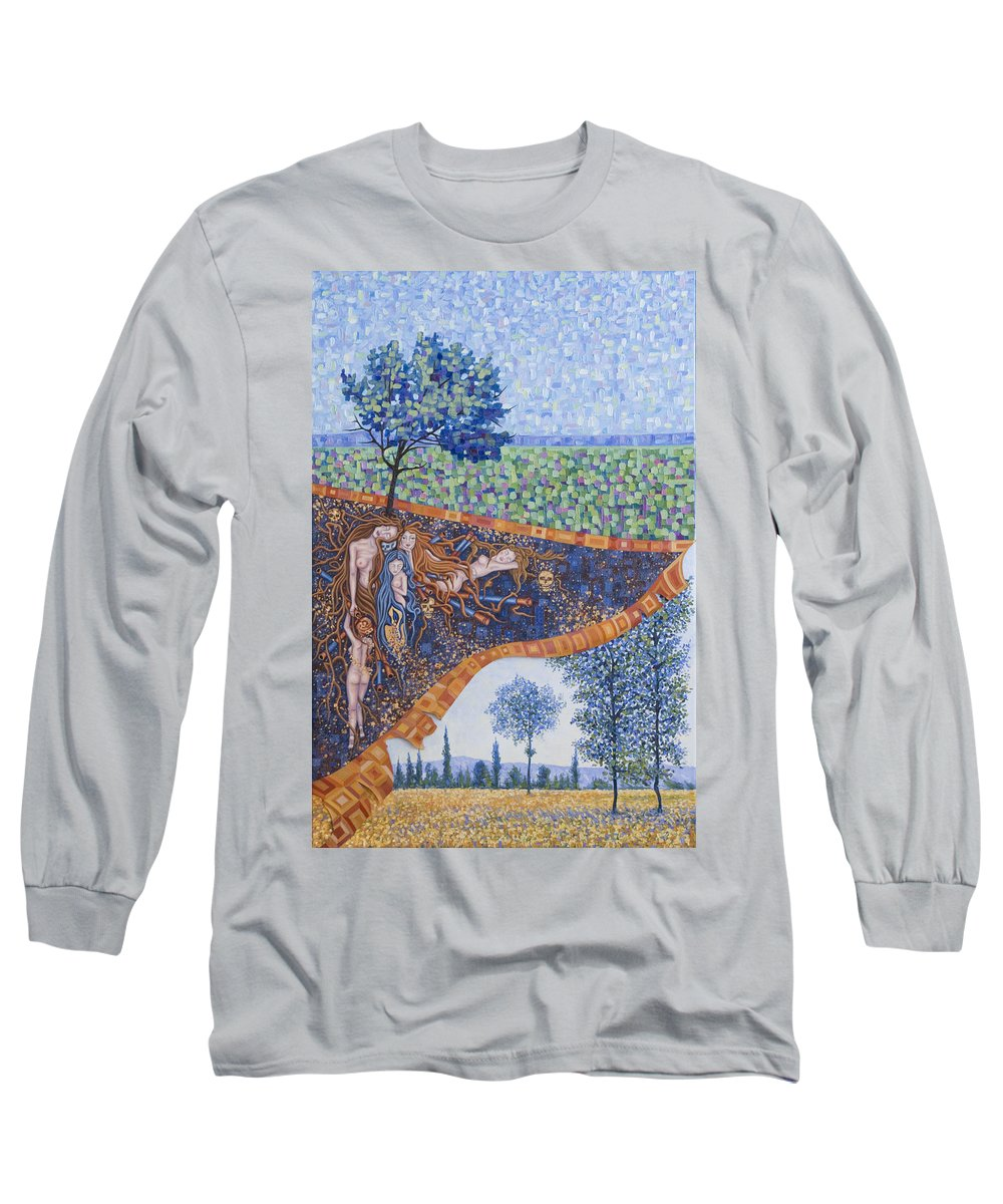 Canvas Long Sleeve T-Shirt featuring the painting Behind The Canvas by Judy Henninger