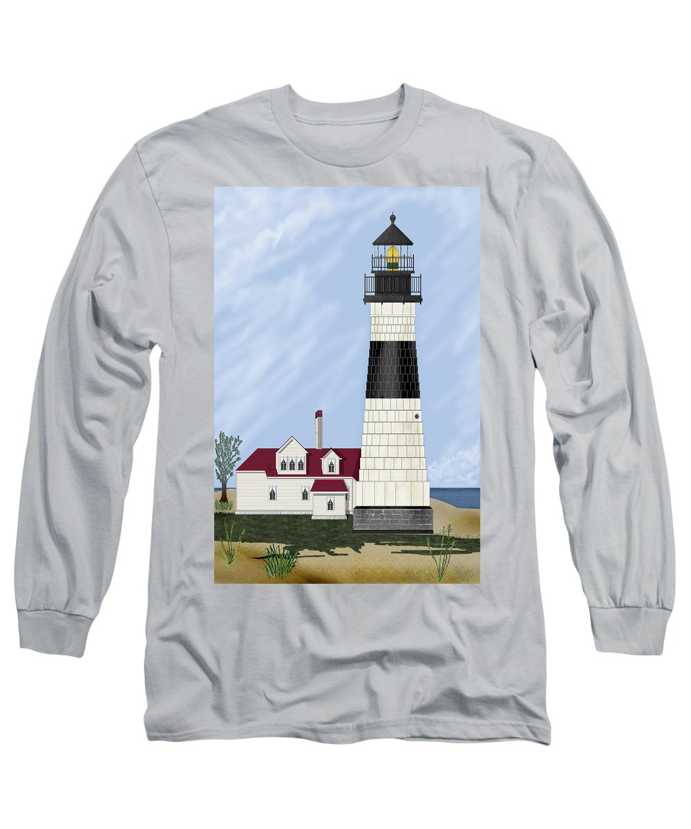 Big Sable Michigan Lighthouse Long Sleeve T-Shirt featuring the painting Big Sable Michigan by Anne Norskog
