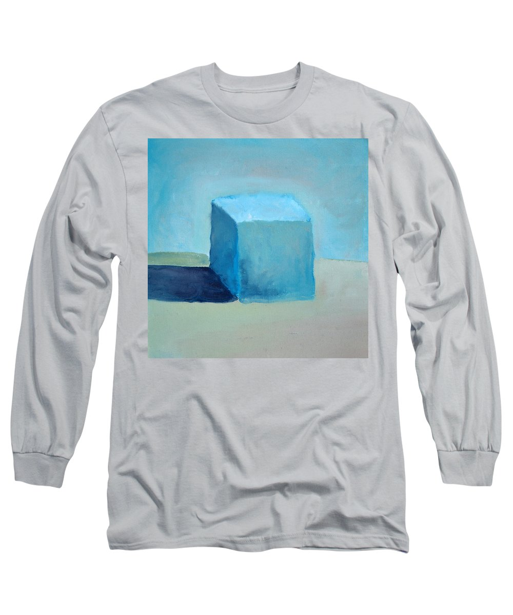 Blue Long Sleeve T-Shirt featuring the painting Blue Cube Still Life by Michelle Calkins