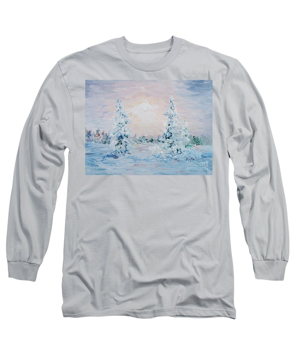 Landscape Long Sleeve T-Shirt featuring the painting Blue Winter by Nadine Rippelmeyer