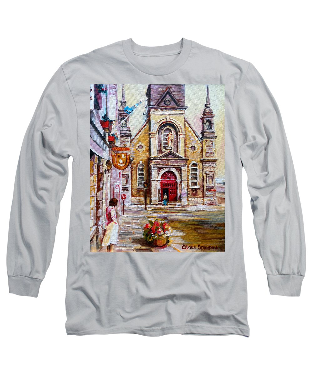 Montreal Churches Long Sleeve T-Shirt featuring the painting Bonsecours Church by Carole Spandau