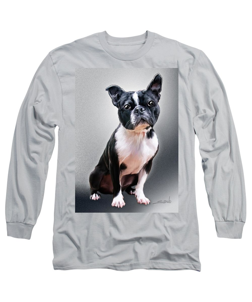Spano Long Sleeve T-Shirt featuring the painting Boston Terrier By Spano by Michael Spano